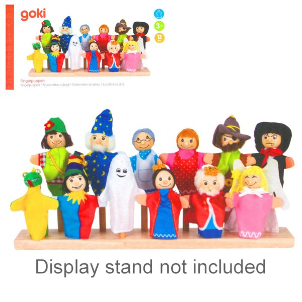 Goki Wooden Head Finger puppets - 12 Pieces - 3+ Years